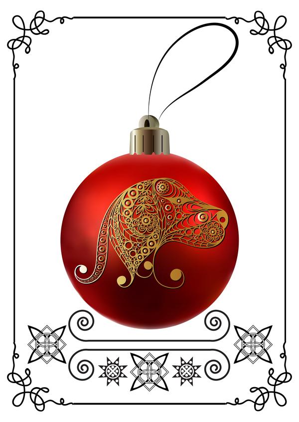 telaio rosso palla Nuovo Natale cane anno