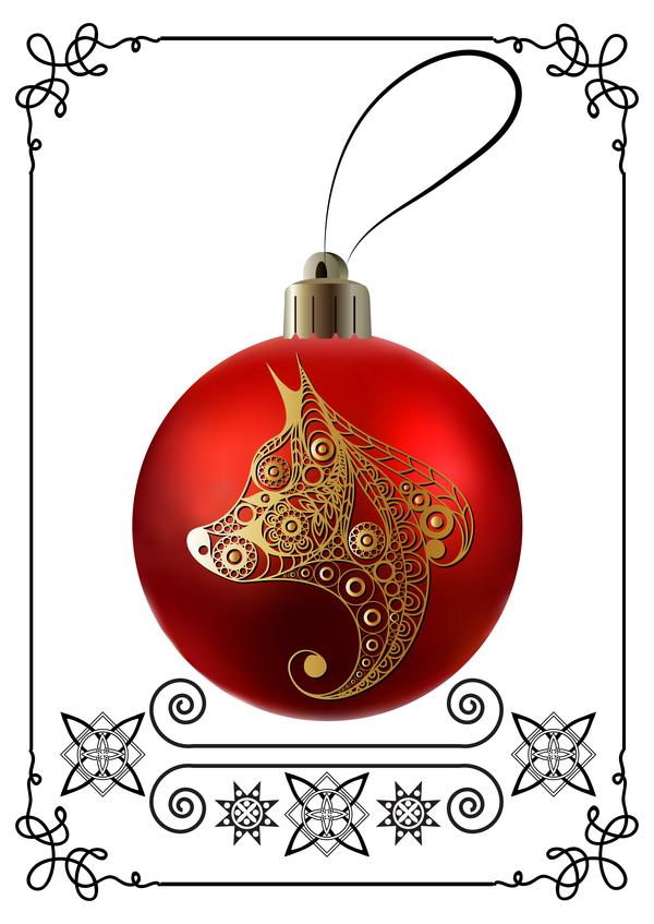 röda ram nya jul Hund boll ar