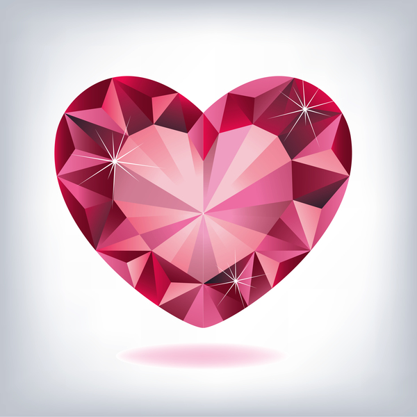 rod hjärta form diamond