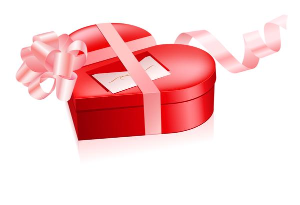 valentin ruban rouge rose Coeur cadeau boîte