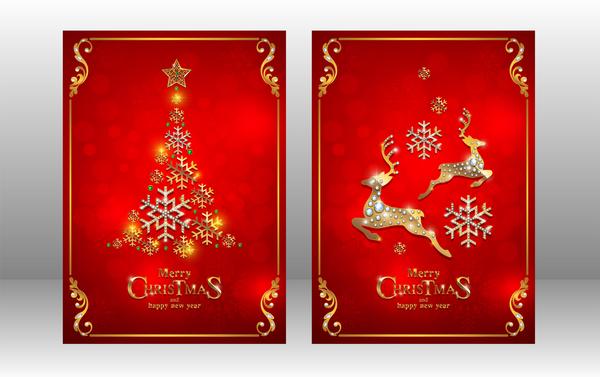 、カード、クリスマス、新しい赤、年