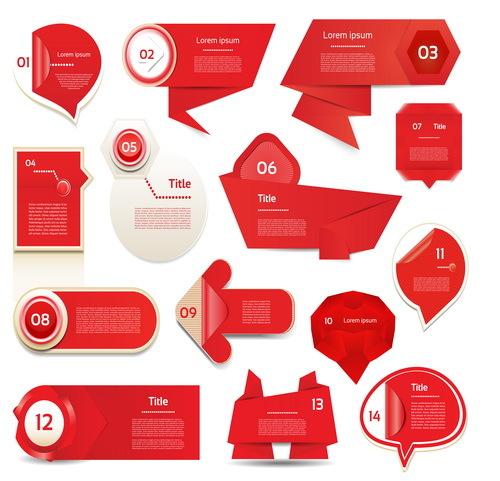 rouge origami bannières