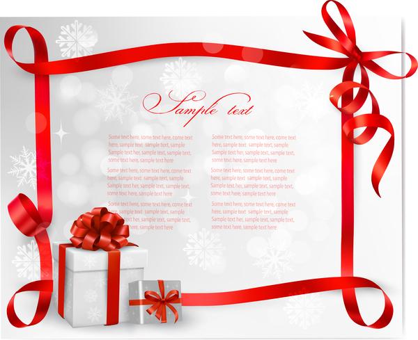 rosso Natale nastro cornice carta