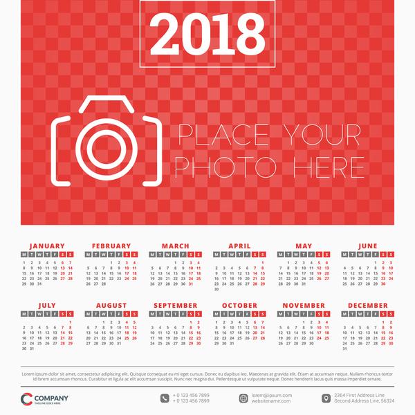 stile rot Kalender foto 2018