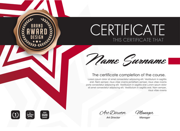 Red Styles Certificate Template Vector 03 Welovesolo