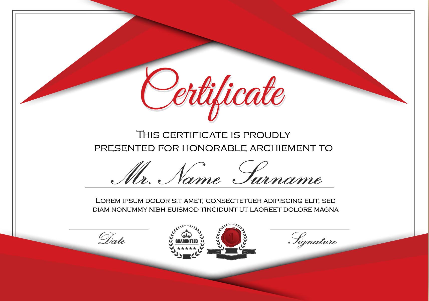 Roten Stile Zertifikat Vorlage Vektor 04 - WeLoveSoLo