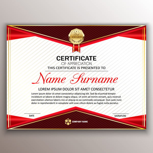 Red Styles Certificate Template Vector 05 Welovesolo