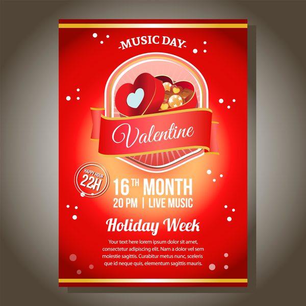 valentine rött fest choklad box affisch