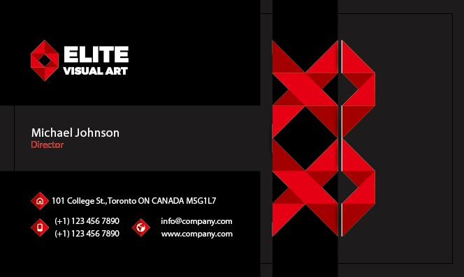 Red With Black Business Card Front Vector Welovesolo