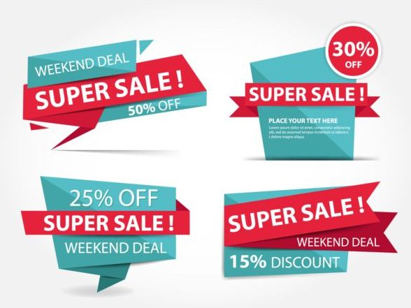 sale red origami labels blue