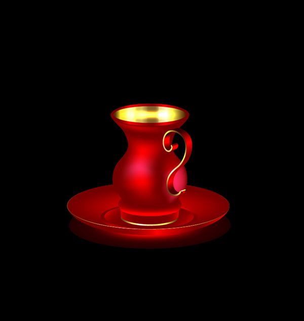 red golden cup coffee