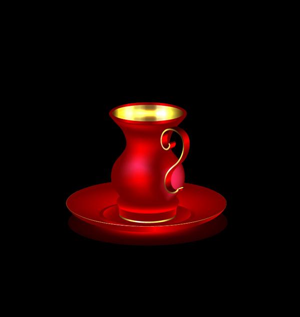 、コーヒー カップ、ゴールデン、赤