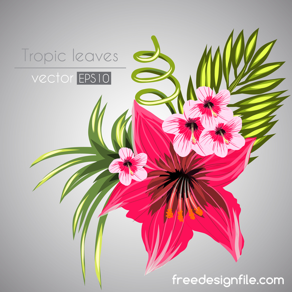 Red with pink tropical flowers vector 07 welovesolo tropical red pink flowers mightylinksfo