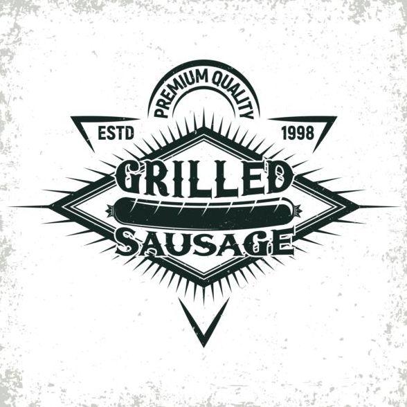 Retro teckensnitt grunge grill etiketter