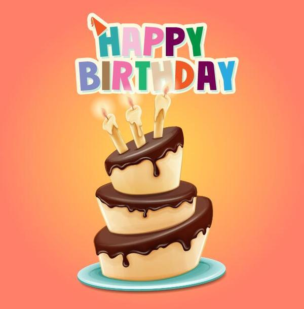 tecknad tårta Retro teckensnitt kort Födelsedag