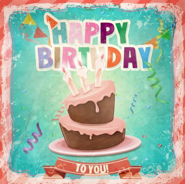torta font retrò Compleanno cartone animato carta