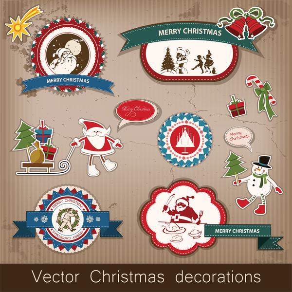 、クリスマス、ラベル、レトロなフォント、ステッカー