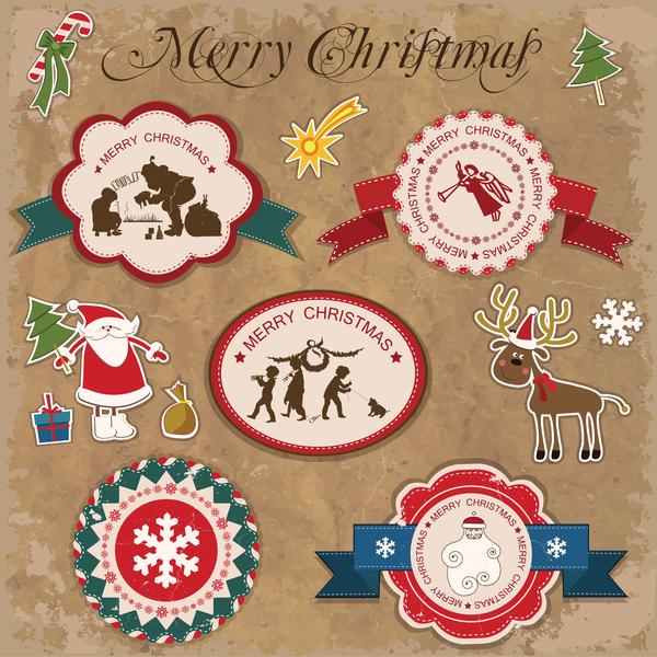 Retro teckensnitt klistermärke jul etiketter