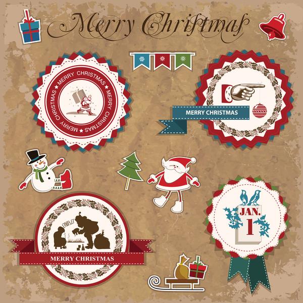 Weihnachten Retro-Schrift Etiketten Aufkleber