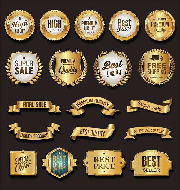 Retro-Schriftart golden Etiketten Bänder