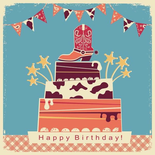 tårta Retro teckensnitt kort Glad Födelsedag