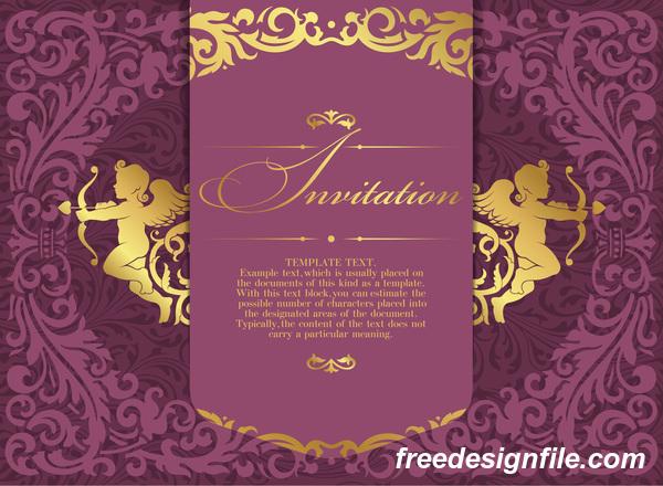 Retro-Schriftart Lila Karte Einladung
