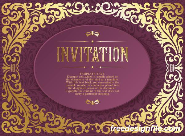 retro invito carta carattere viola