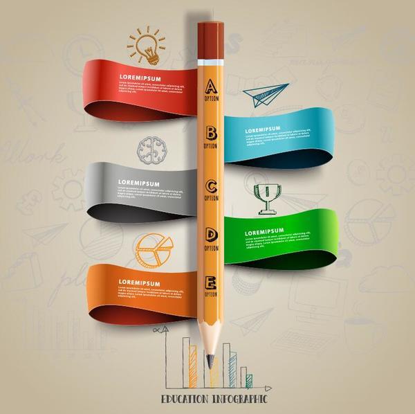 ruban infographie crayon
