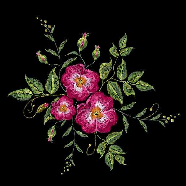 刺繍 バラ