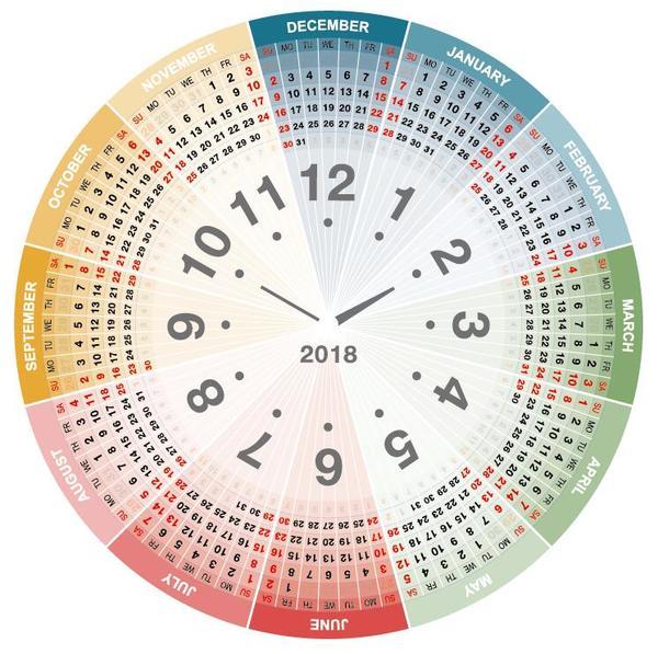 runt Kalender Färg 2018