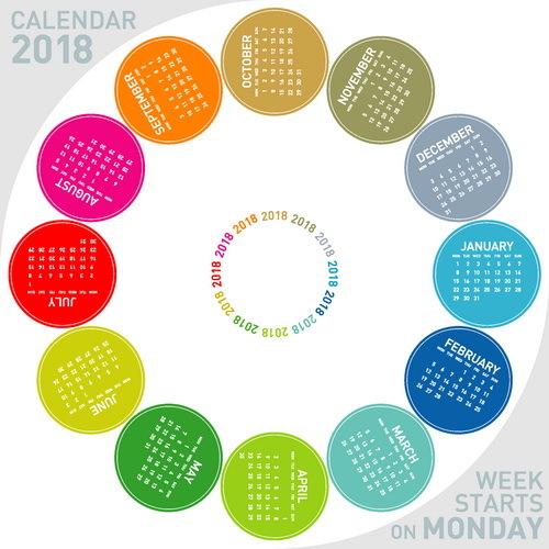 rund Kalender farbig 2018