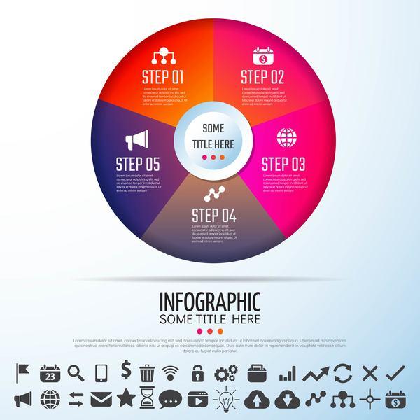 Verksamhet runda infographic ikoner