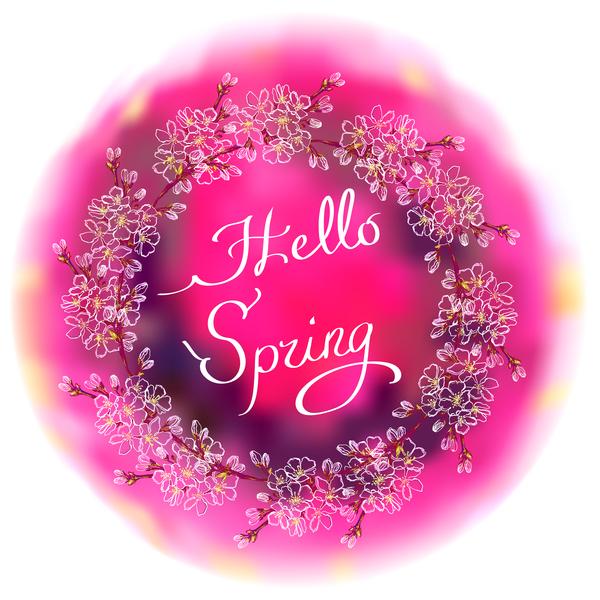 、花、フレーム、ラウンド、春、白