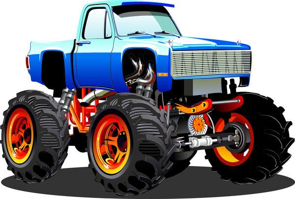 Suv Monster Cars Cartoon Vector Material 07 Welovesolo