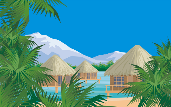 trees sea palm bungalows