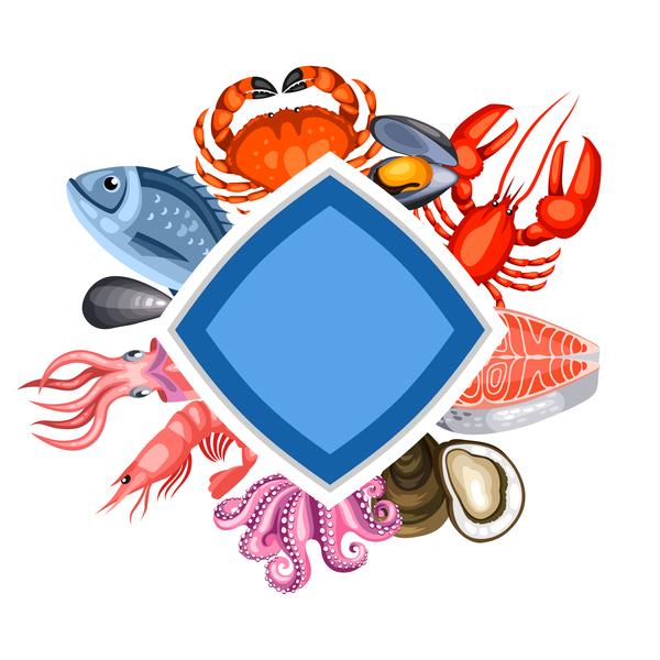、フレーム、魚介類