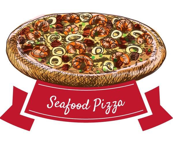 pizza Meeresfrüchte hand