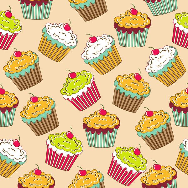 、カップケーキ、シームレスなパターン