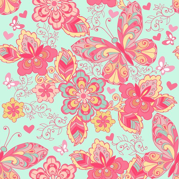 senza soluzione di continuità Rosa ornamento Farfalle blu