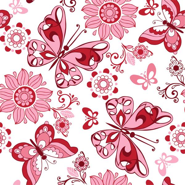 Schmetterlinge nahtlose Muster hell Blumen