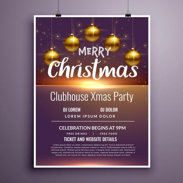 Weihnachten poster party Musik flyer