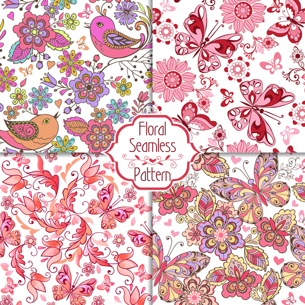 transparent set rose Patterns Papillons oiseaux floral coeurs