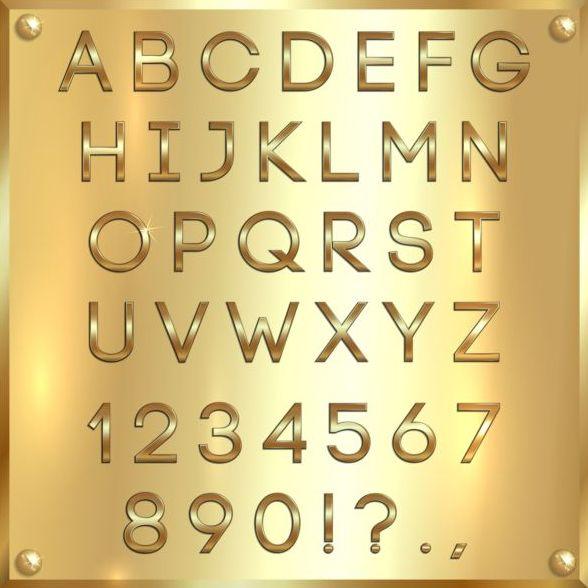 、アルファベット、フォント、黄金、番号、光沢のあります。