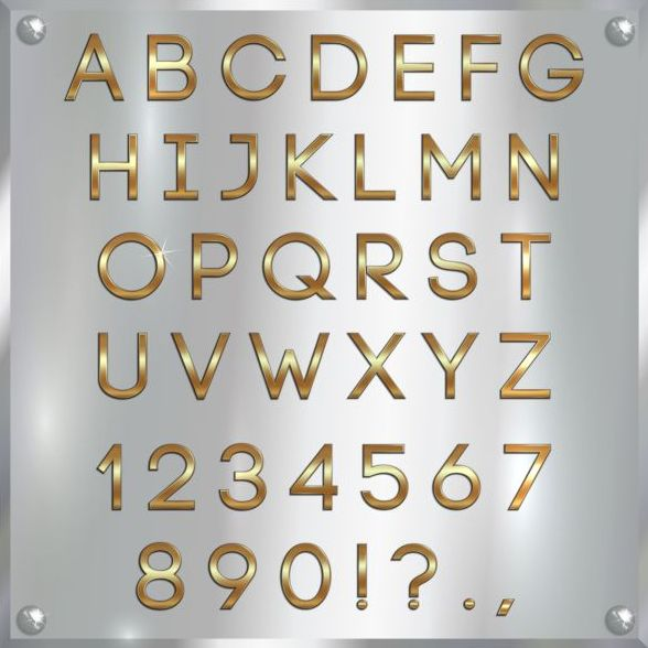 splendente numero golden font Alfabeto