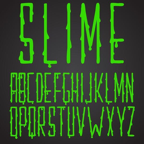 vert goutte brillant alphabet