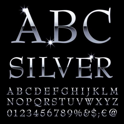 numeri argento lucido Alfabeto