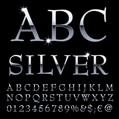silver siffror glänsande Alfabetet