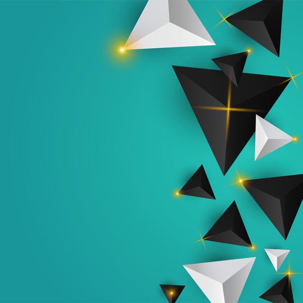 、抽象、光、光沢がある、星、三角形