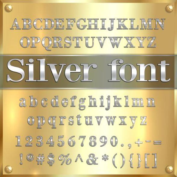 Zahl Silber Schrift alphabet