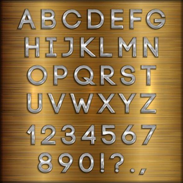 、アルファベット、フォント、番号、シルバー